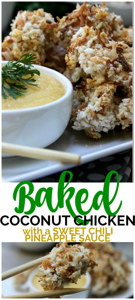 Baked Coconut Chicken with Sweet Chili Pineapple Sauce pinterest image