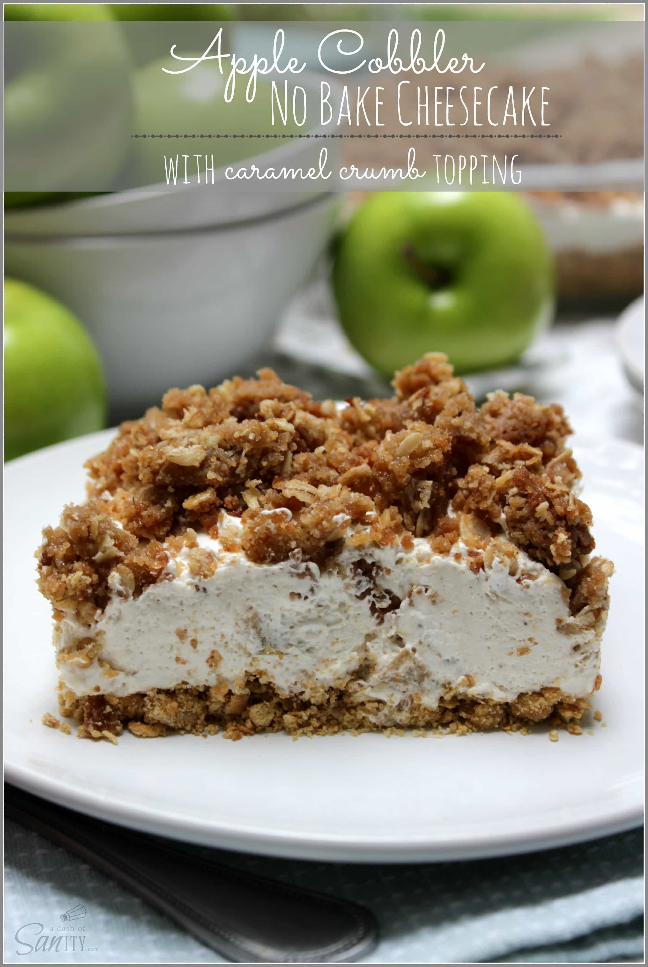 Apple Cobbler No Bake Cheesecake | with caramel crumb topping