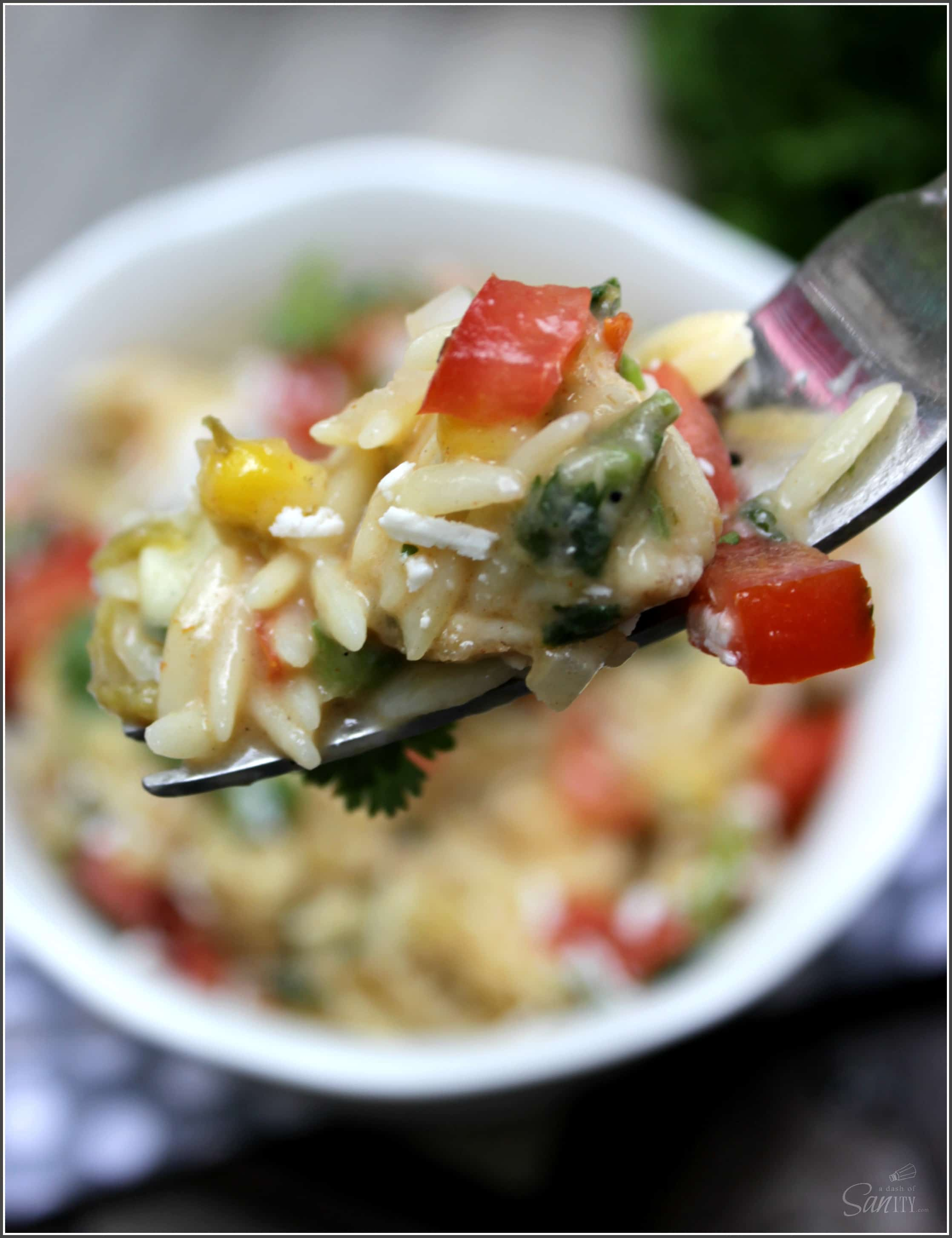 Creamy Chicken Mexican Pasta Bake is made with fresh vegetables, herbs, and chicken- making this a flavorful dish with Mexican flavor.