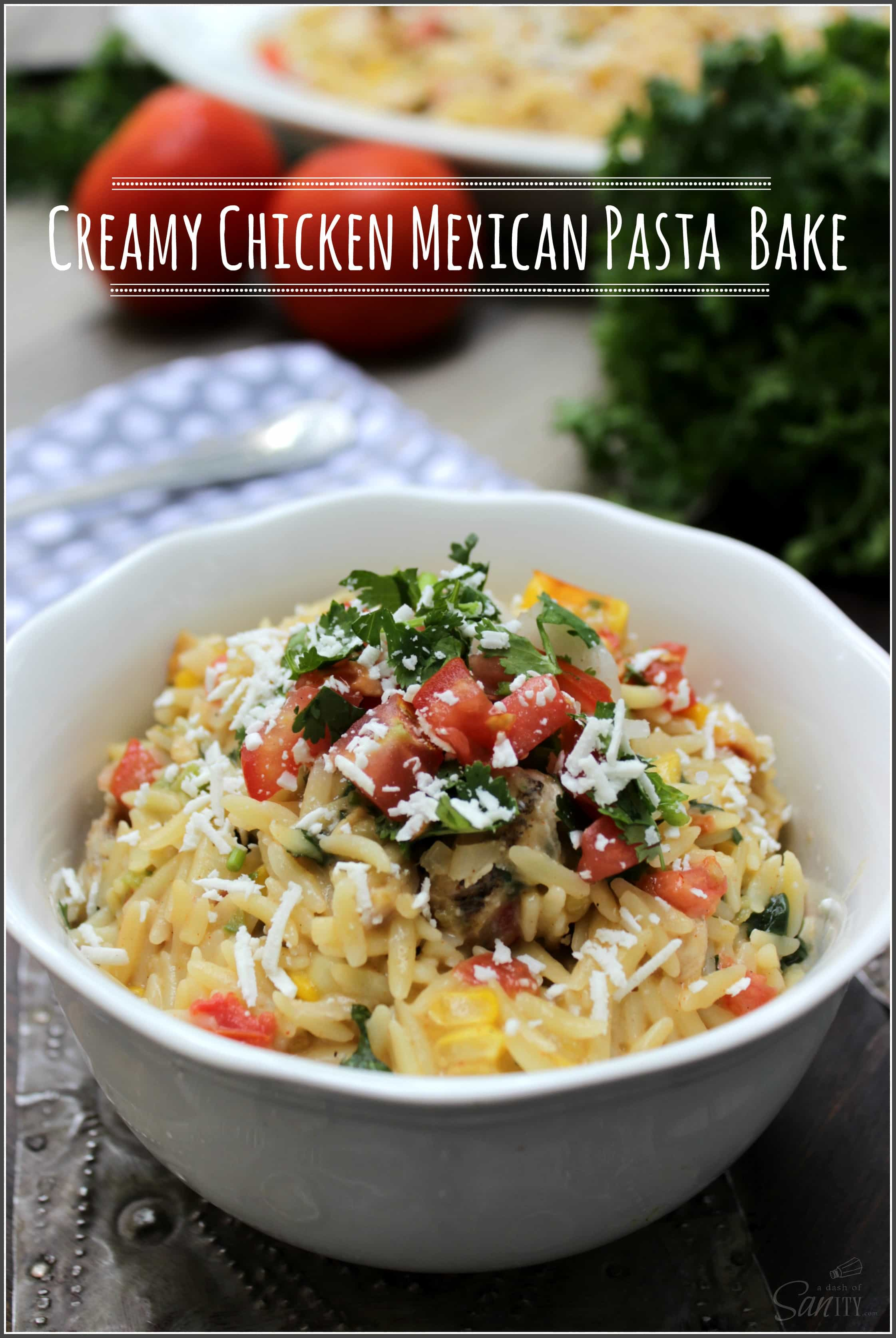 Creamy pasta dish made with fresh vegetables, herbs, and chicken ...