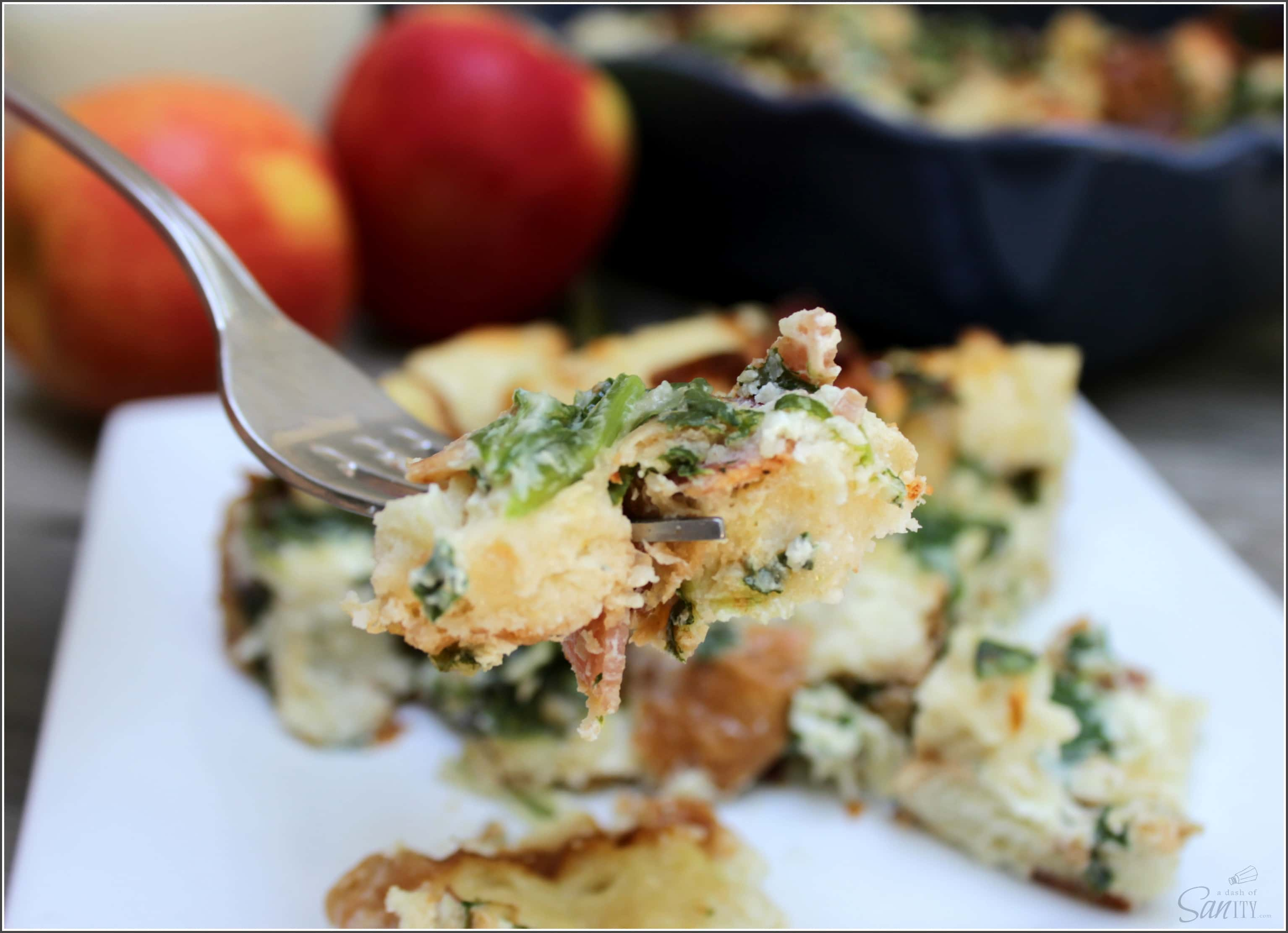 This Simple Egg White Breakfast Casserole has many layers of flavor with just a few ingredients, including bacon, spinach, egg whites, & smoked Gouda.