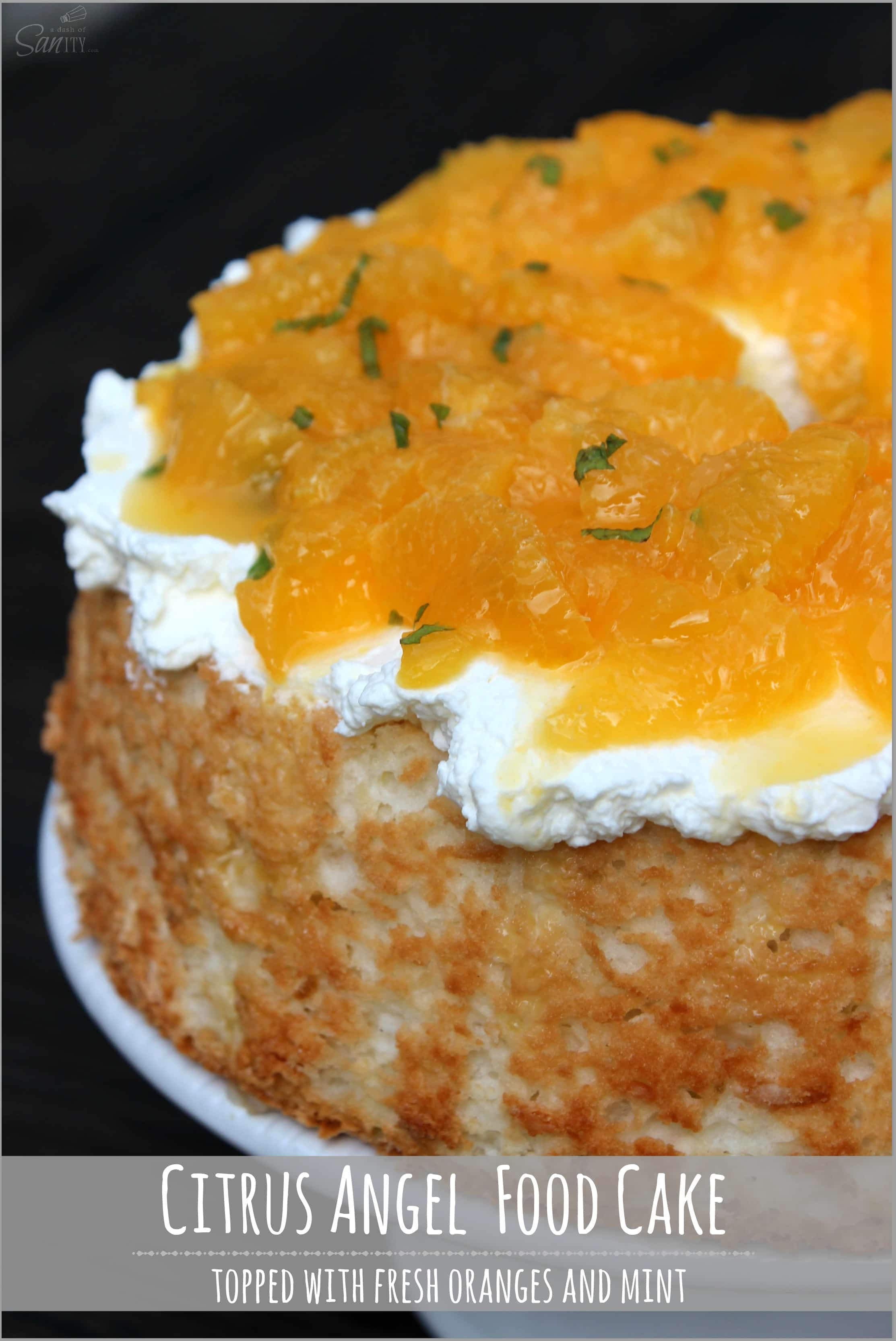Citrus Angel Food Cake with Orange Mint Topping