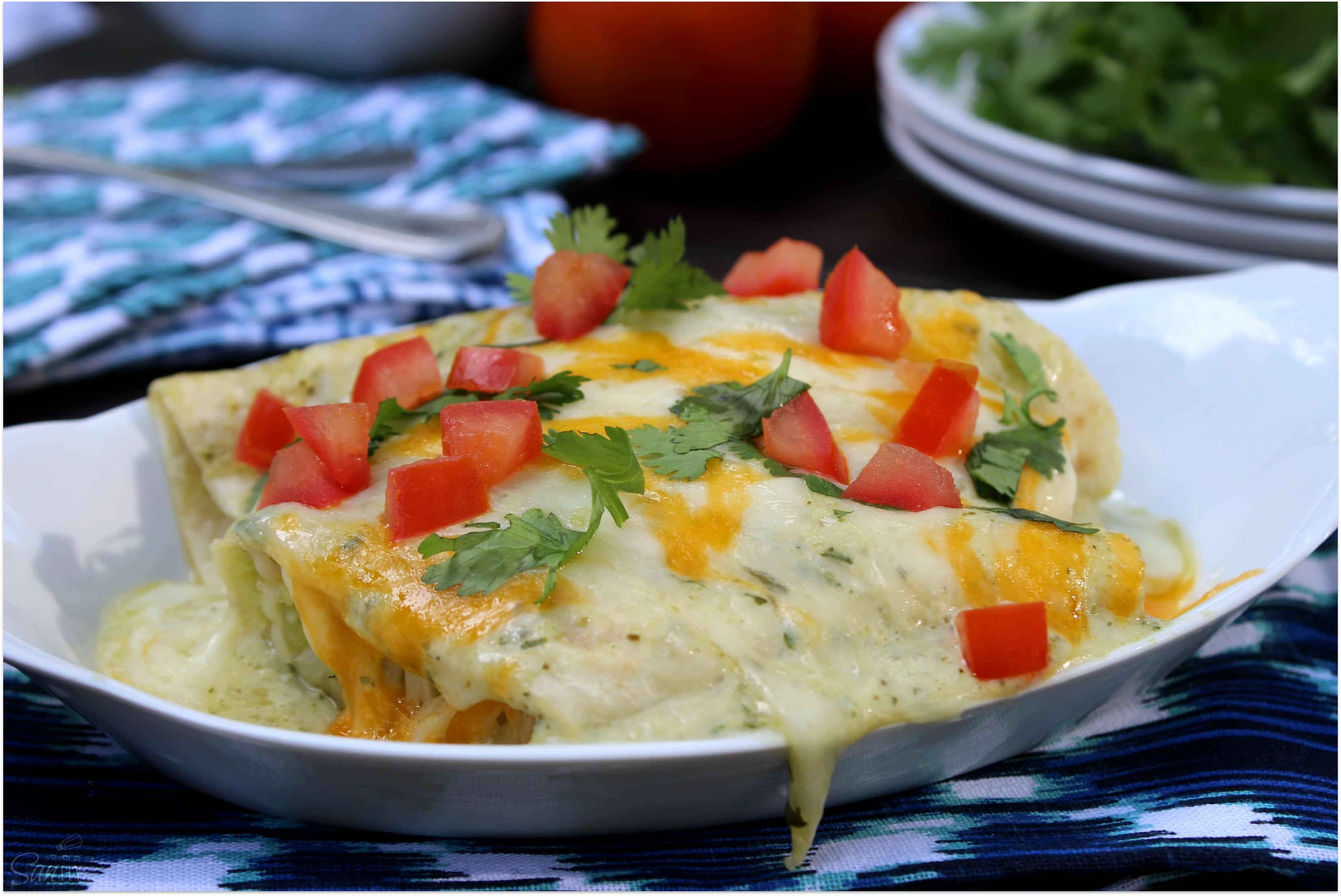 These Zucchini Enchiladas with Roasted Green Chile Sauce are honestly the best you will ever have. You will never go back to a red sauce again.