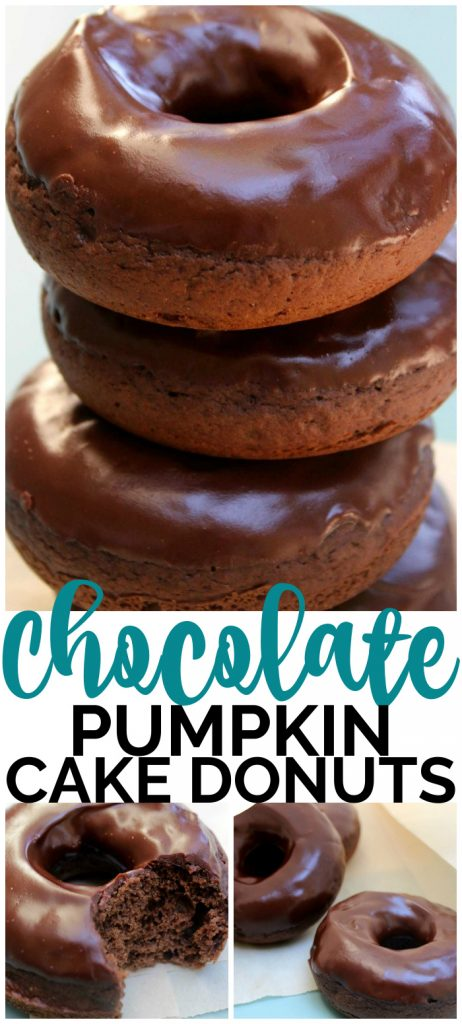 Chocolate Pumpkin Cake Donuts pinterest image