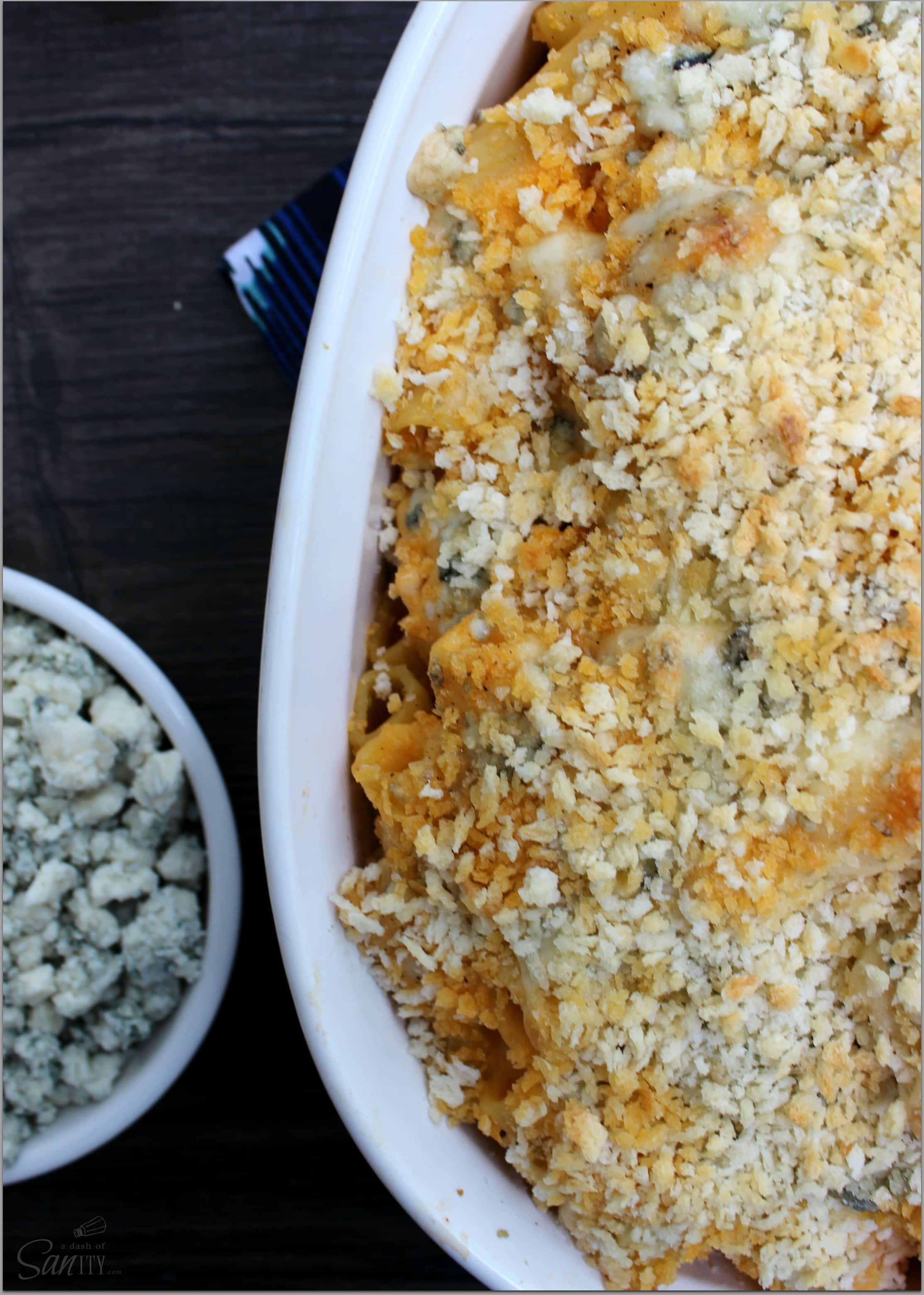 This Creamy Buffalo Chicken bake is a deliciously creamy pasta dish inspired from one of America's favorite appetizers, Buffalo Chicken Wings.