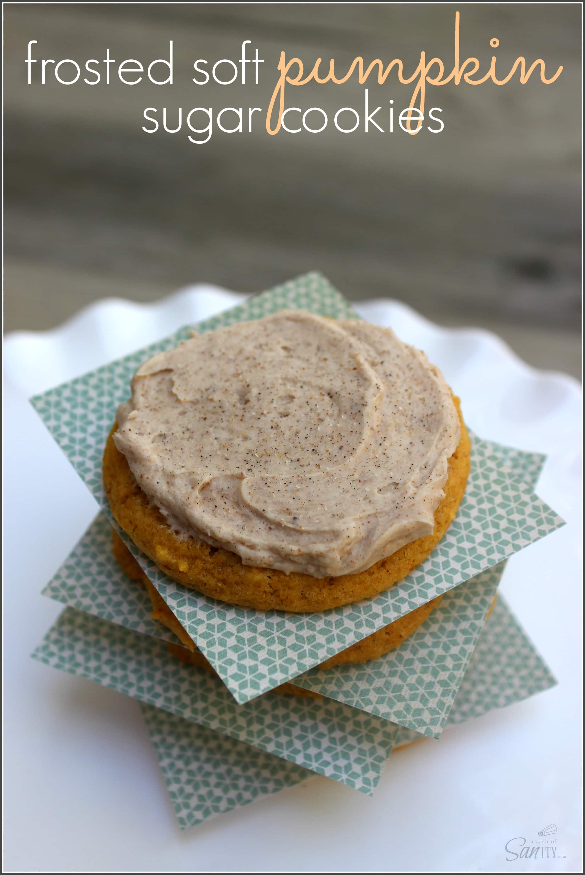 Soft, chewy Pumpkin Sugar Cookies topped with a Pumpkin Spiced ...