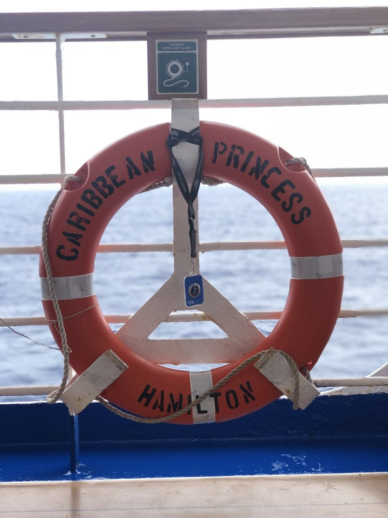 "photo of a lifesaver with ""caribbean princess hamilton"" painted on it, hanging from railing on cruise ship"