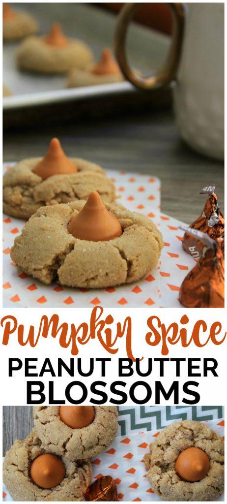 Pumpkin Spice Peanut Butter Blossoms pinterest image