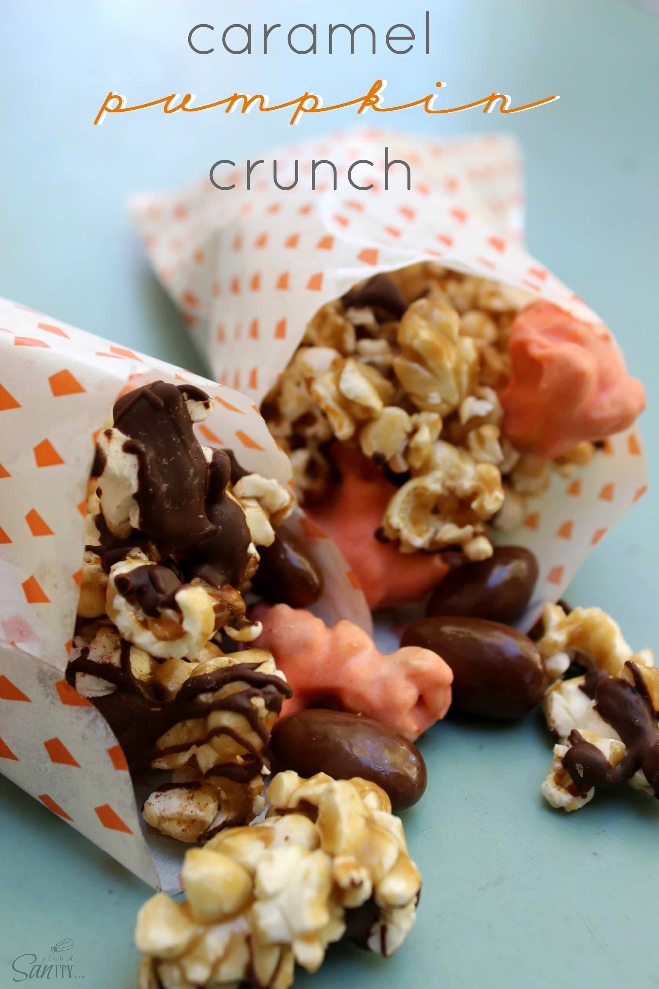 Caramel Pumpkin Crunch is made with caramel corn, chocolate covered ...