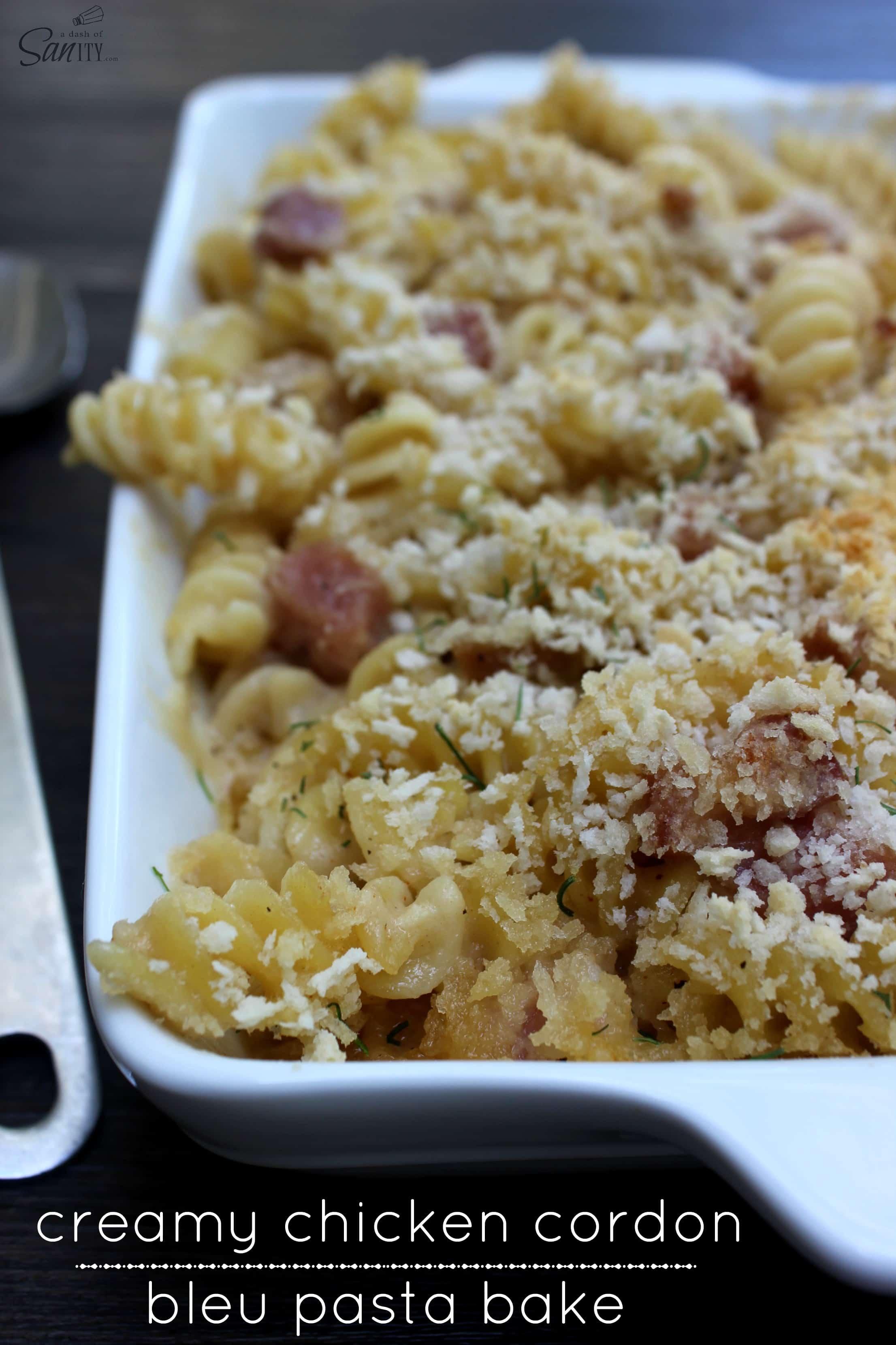 chicken cordon bleu pasta bake main