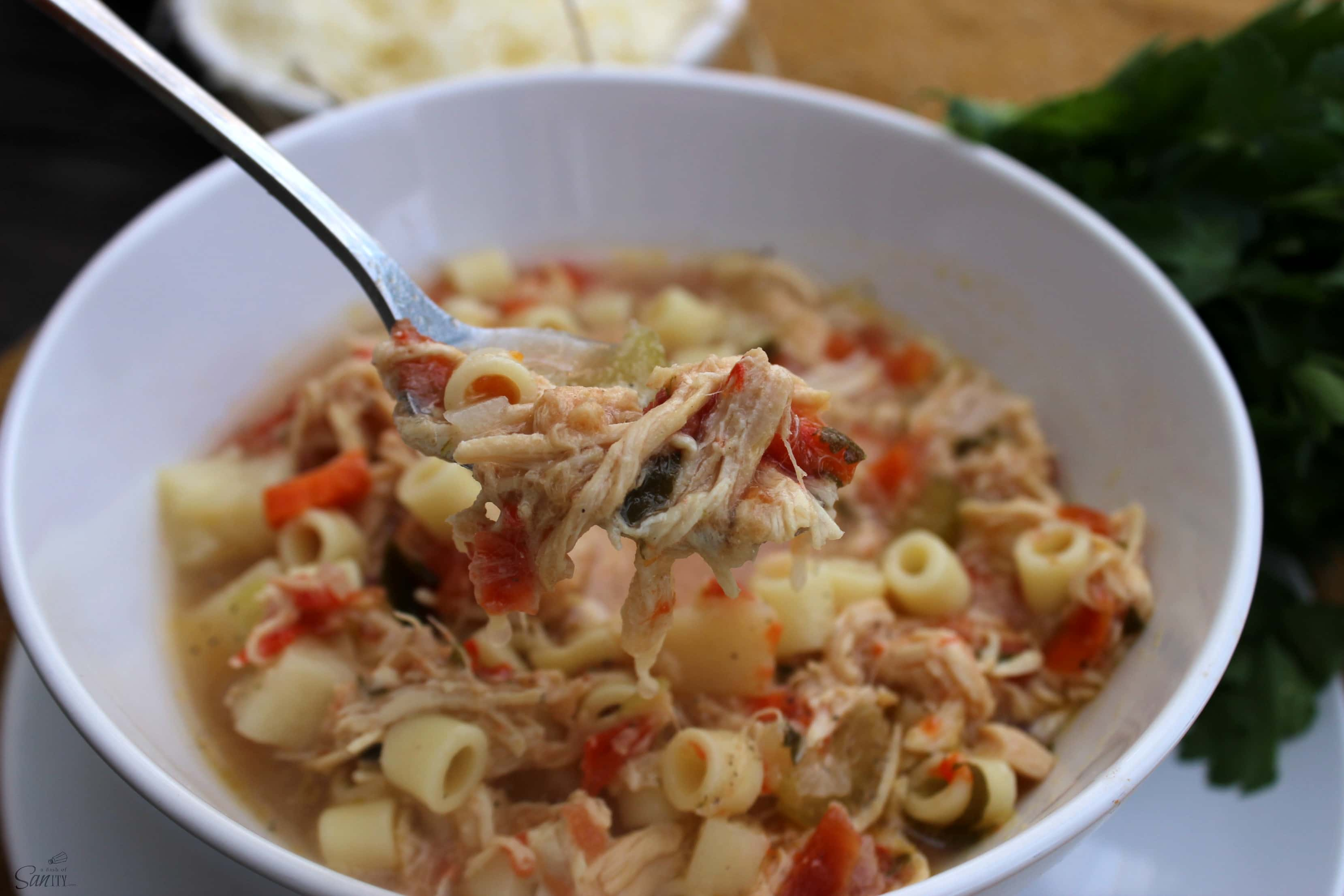 This Slow Cooker Sicilian Chicken Soup cooks all day; with a peppery broth, fresh vegetables, and tender chicken, this is comfort served in a bowl.
