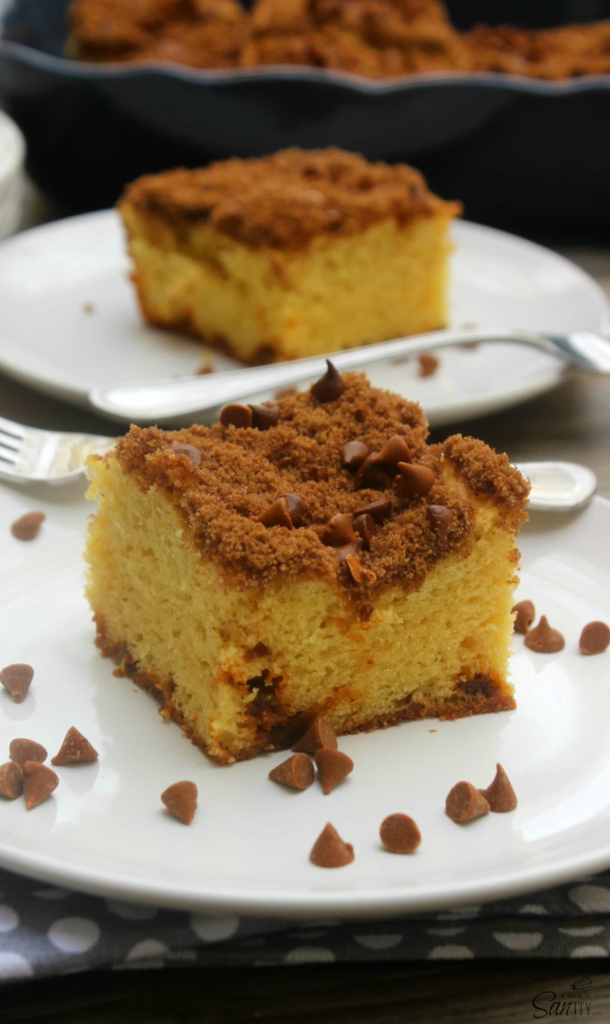 This Cinnamon Chip Coffee Cake is a classic delicious coffee cake with a cinnamon chip crumb topping. It makes a great morning treat or an afternoon snack.