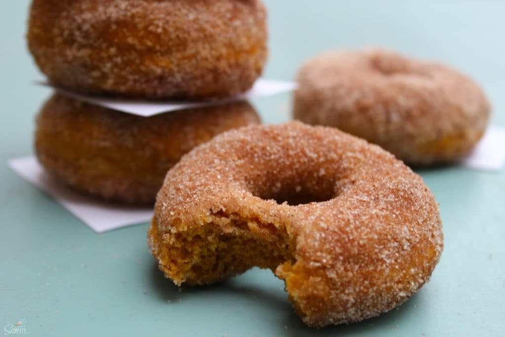 close up photo of cinnamon sugar pumpkin donut with bite taken, with stack of donuts in background