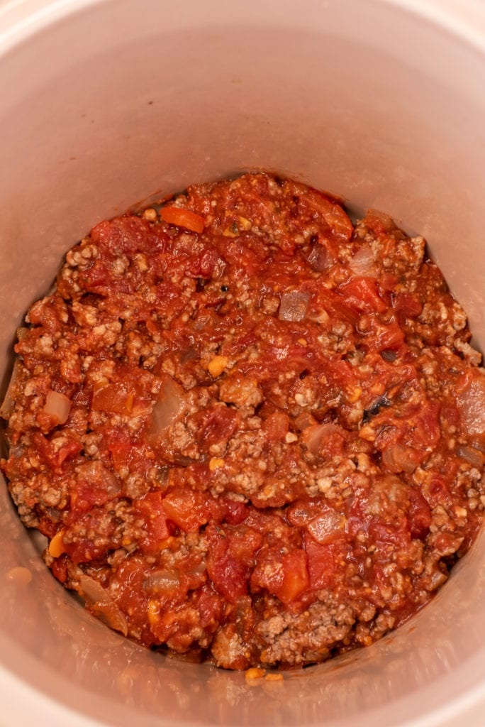 photo of the sauce in the slow cooker