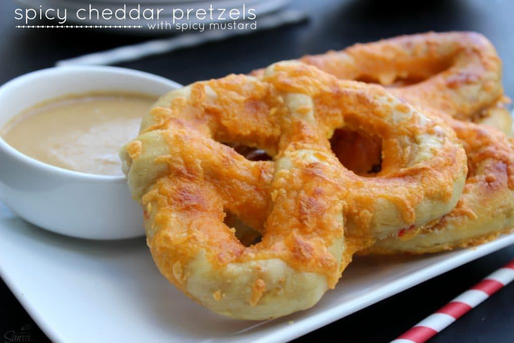 spicy cheddar pretzels with spicy mustard