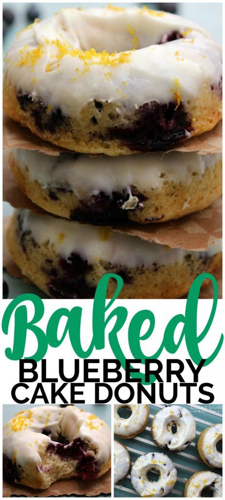 Baked Blueberry Cake Donuts pinterest image