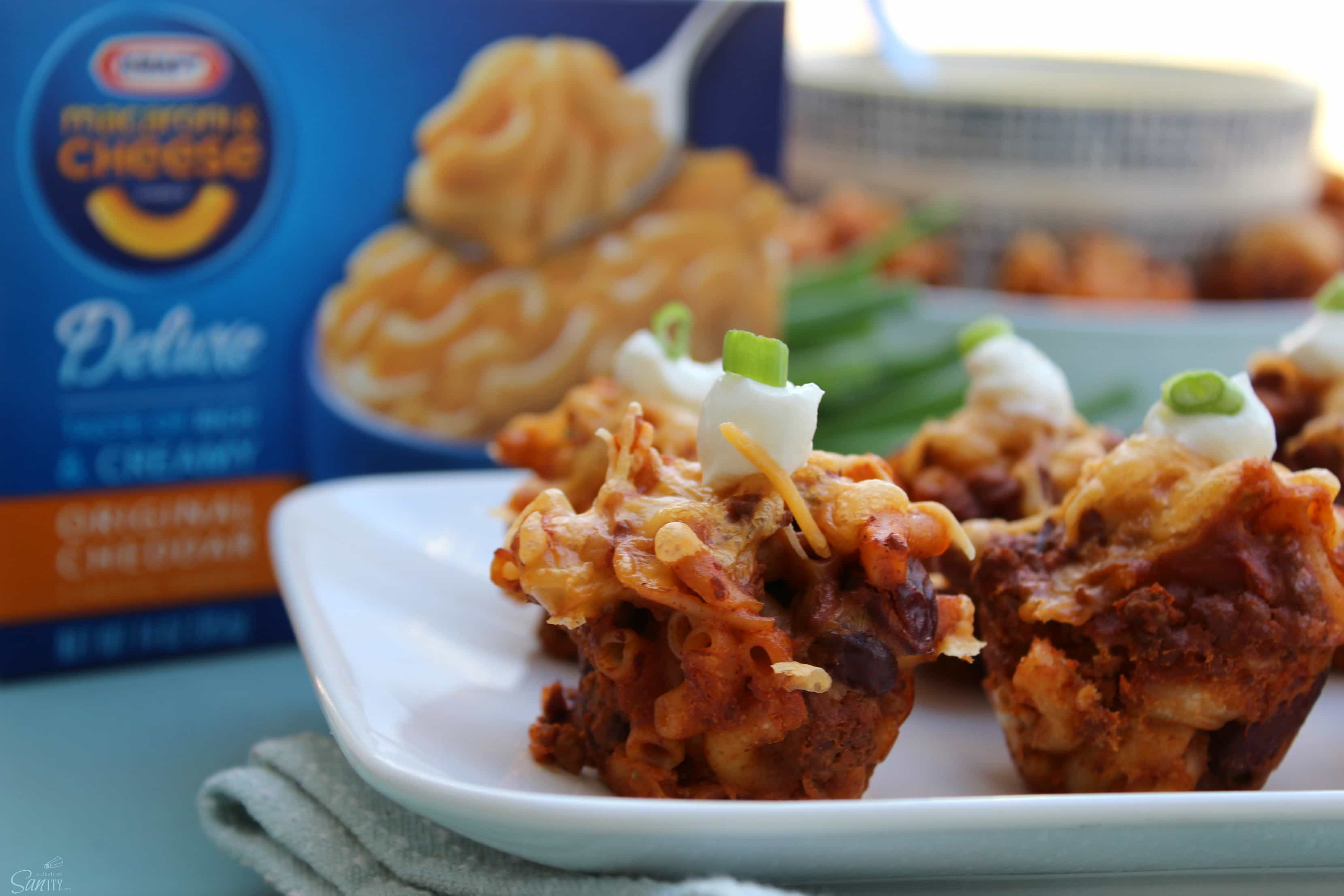 These Chili Cheese Mac Bites are perfect for a game day appetizer, a convenient bite for a party or a fun way to serve for dinner. An easy delicious recipe!