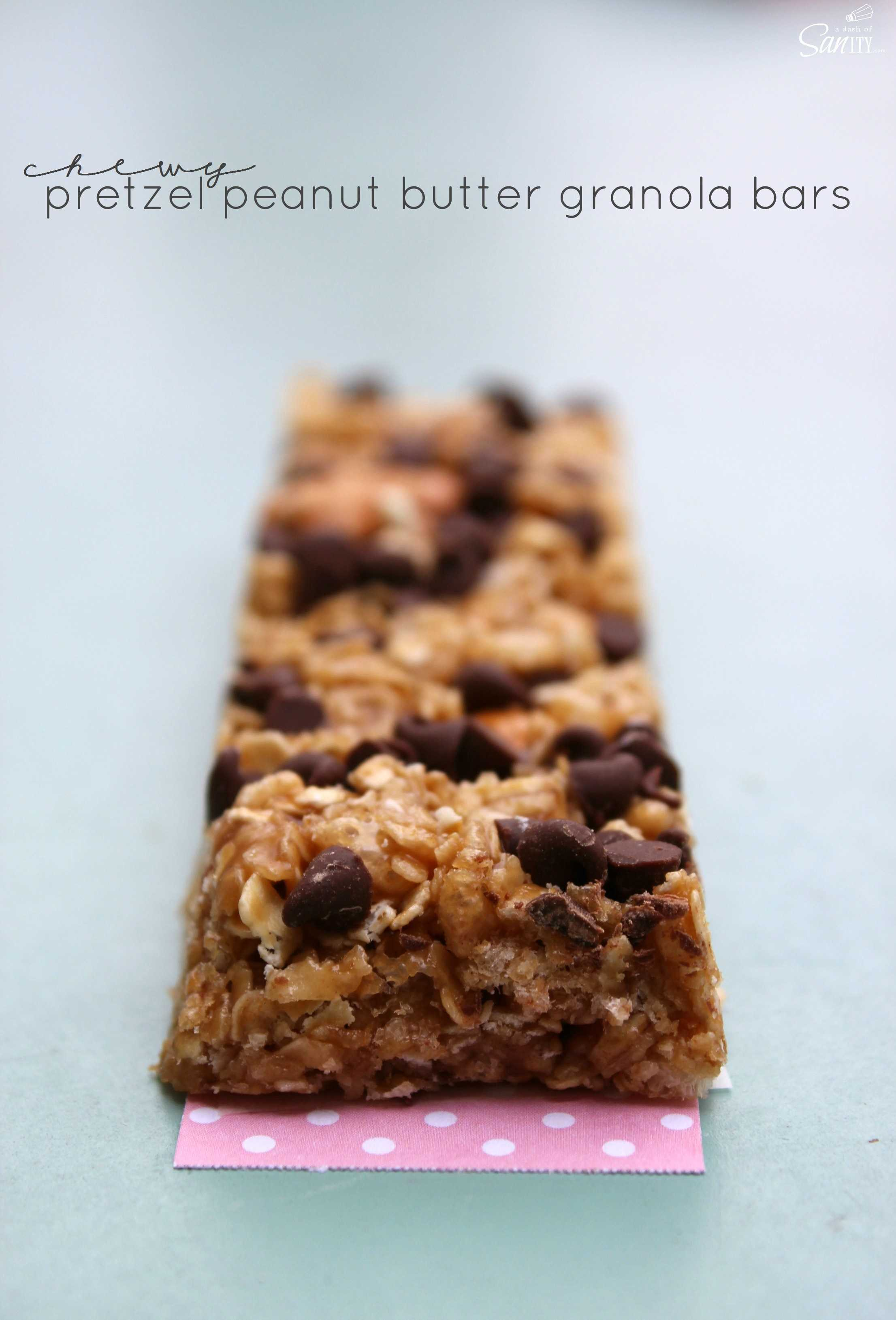 These no-bake Chewy Pretzel Peanut Butter Granola Bars are simple and ...