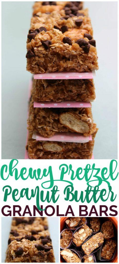 Chewy Pretzel Peanut Butter Granola bars pinterest image