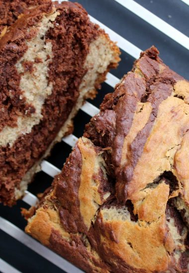 Chocolate Peanut Butter Banana Swirl Bread