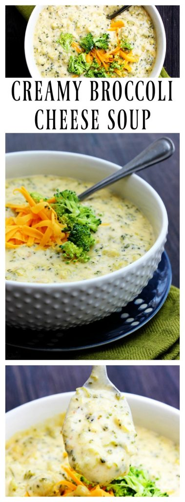 Creamy Broccoli Cheese Soup old photos, served in a white bowl and garnished with broccoli and shredded cheese