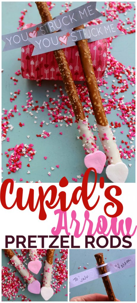 Cupid's Arrow Pretzel Rods pinterest image
