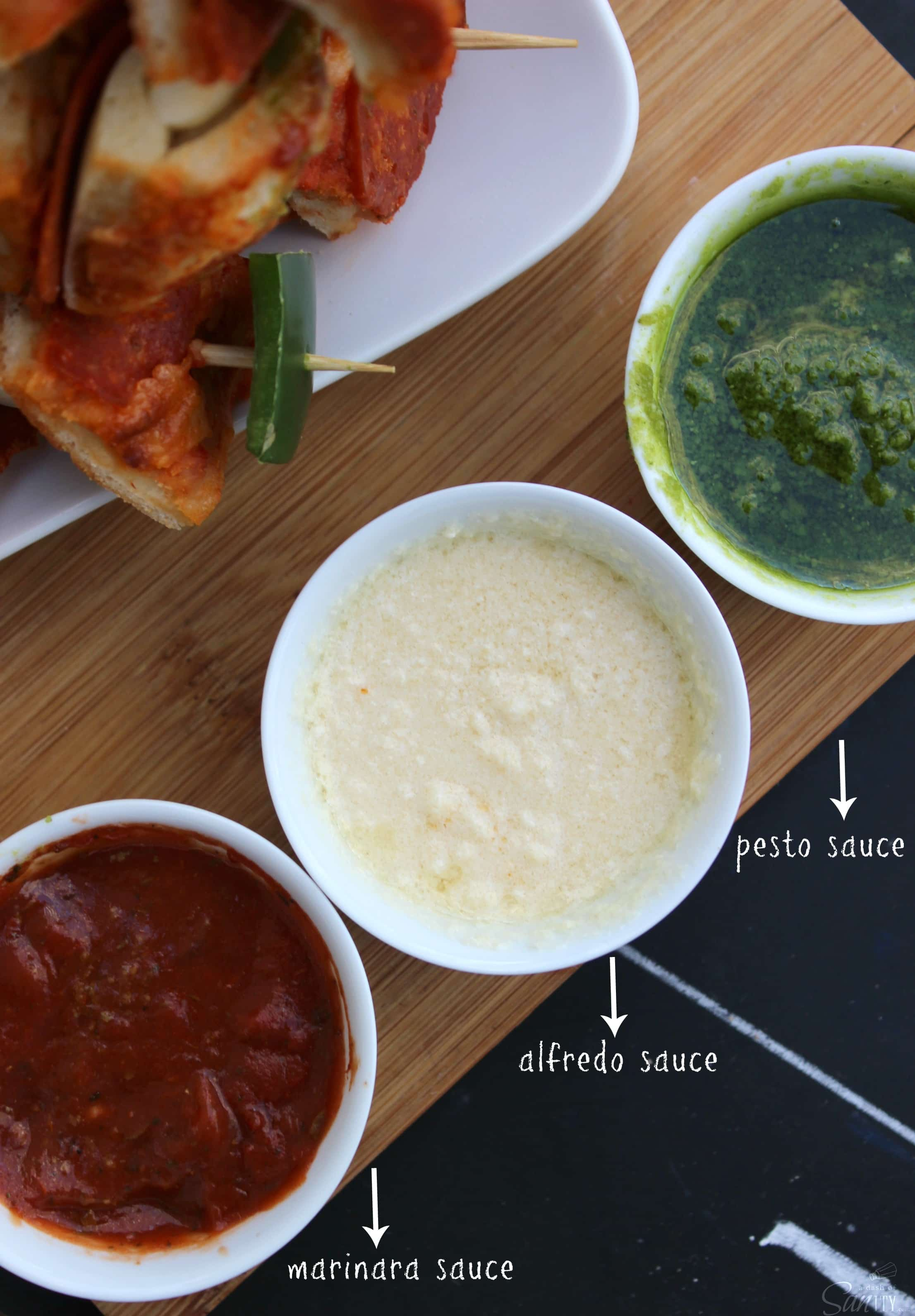 Be a game day champion with these easy Pizza Kabobs and 3 simple Homemade Dipping Sauce Recipes, including marinara, alfredo, & pesto.