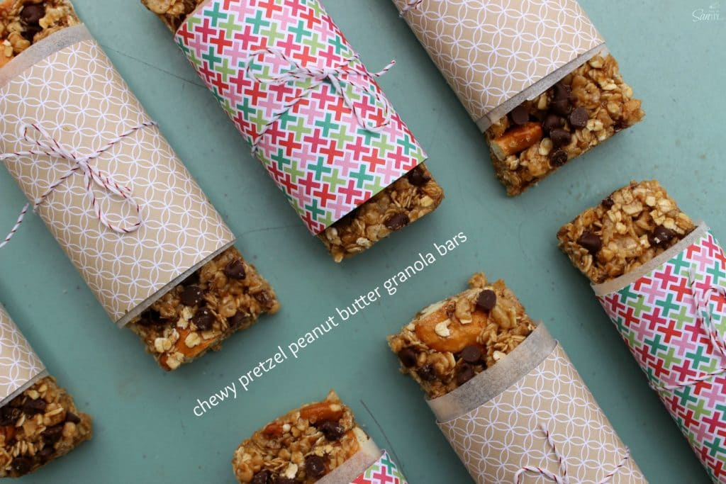 These Chewy Pretzel Peanut Butter Granola Bars are a simple and easy snack to make, prepared in less than 20 minutes. The kids are going to love this snack!
