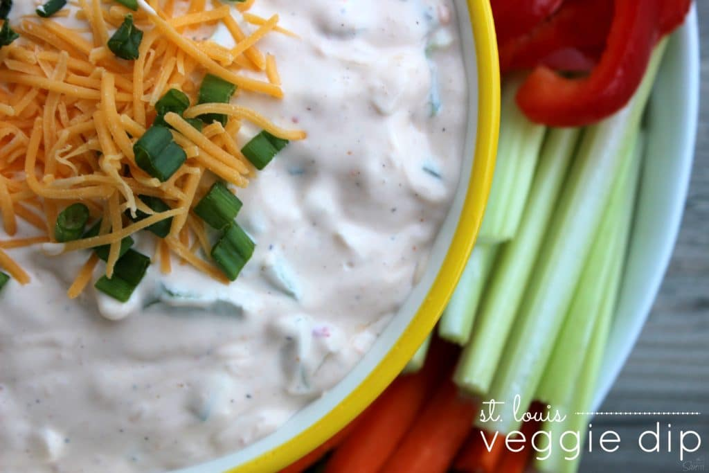This St. Louis Veggie Dip is the best veggie dip I have ever had. Sorry ranch, move on over! So easy to prepare and delicious with veggies or crackers.