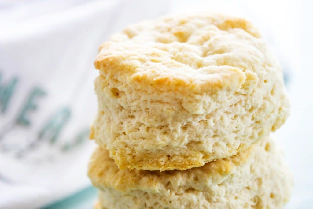 close up of a stack of Copycat KFC Biscuits
