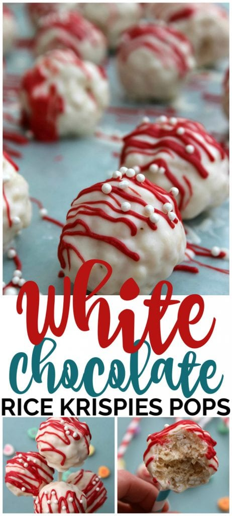 White Chocolate Rice Krispies Pops pinterest image