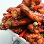 close-up shot of asian sticky wings.