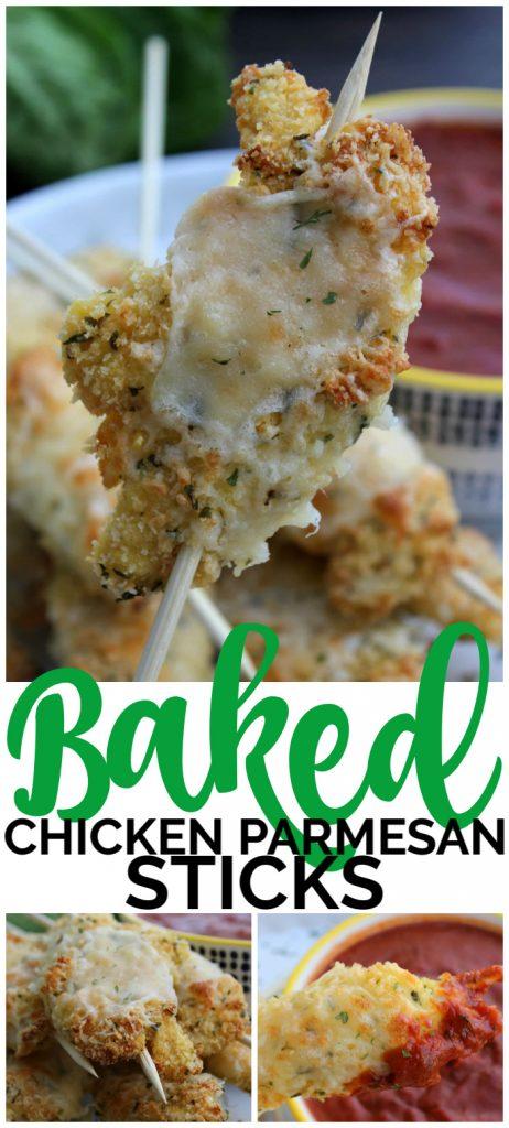 Baked Chicken Parmesan Sticks pinterest image