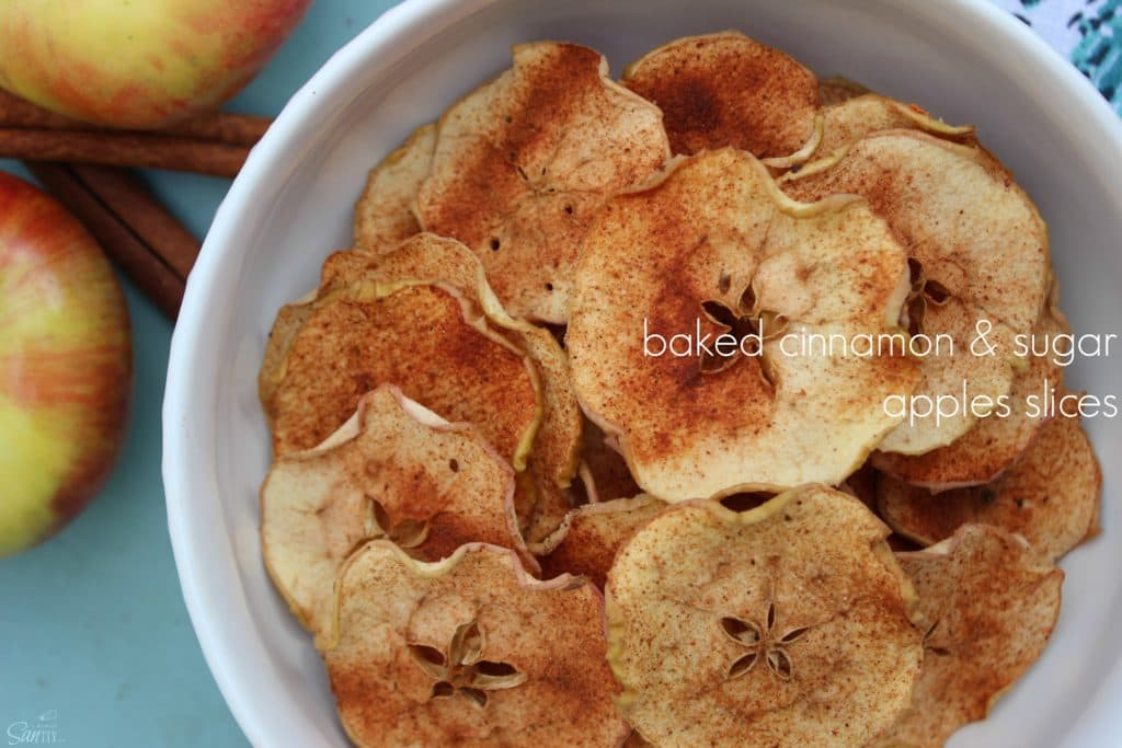 Baked Cinnamon Sugar Apple Slices in white bowl