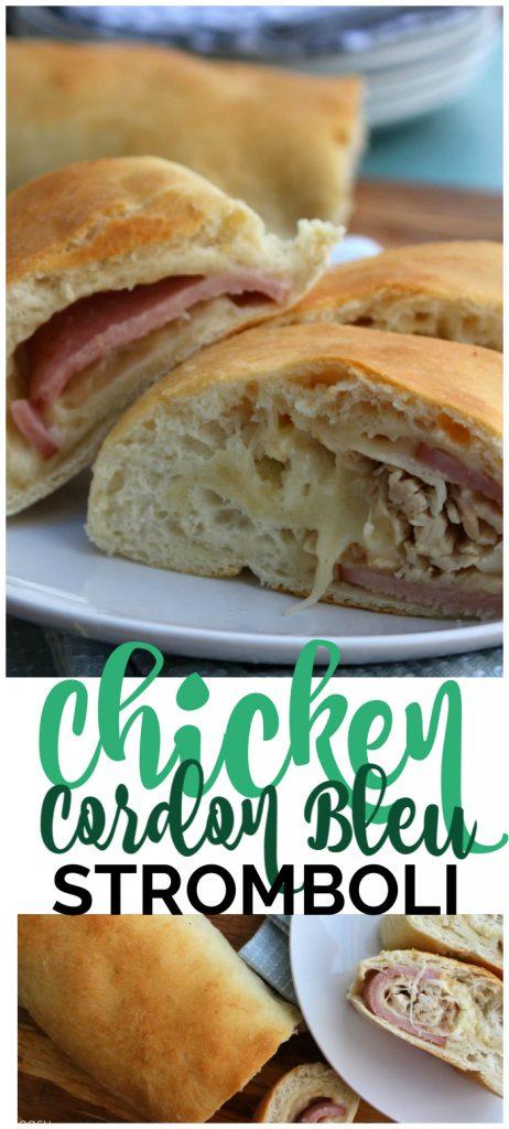 Easy Chicken Cordon Bleu Stromboli pinterest image