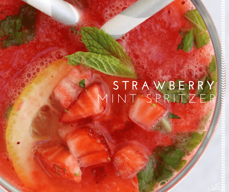 photo from top down of  Strawberry Mint Spritzer in a glass with a straw. text:  Strawberry Mint Spritzer