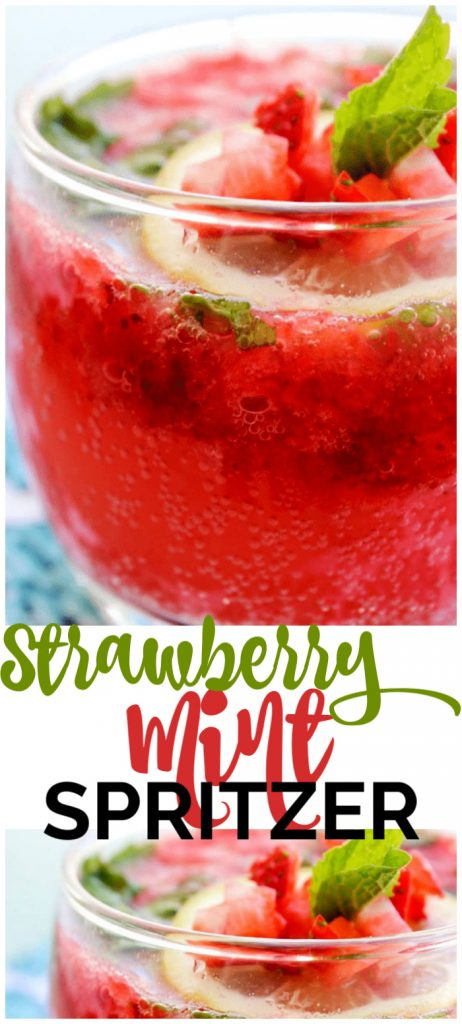 top photo:  Strawberry Mint Spritzer in a glass. bottom photo: close up of garnishes on  Strawberry Mint Spritzer