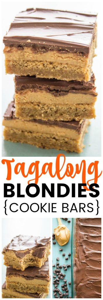 Tagalong Blondies Cookie bars, stack of Tagalong Blondies, Tagalong Blondies in glass pan