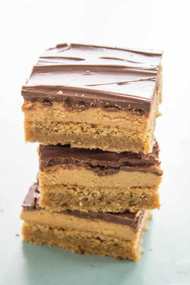 photo of a stack of 3 Tagalong Blondies squares