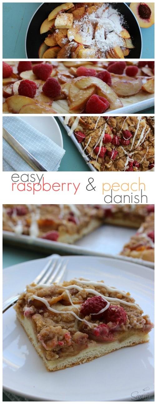 Easy Raspberry & Peach Danish long pin