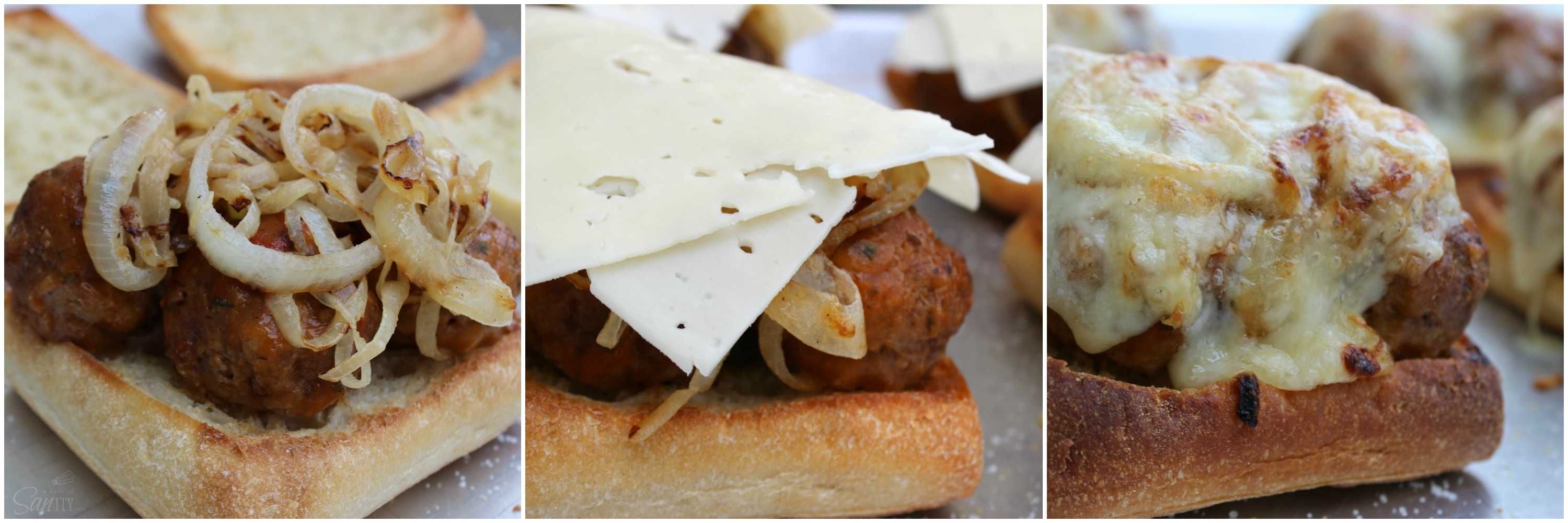 These French Onion Meatball Sandwiches are a cheesy onion-filled sandwich with meatballs. A delicious twist on French Onion Soup, a favorite classic.