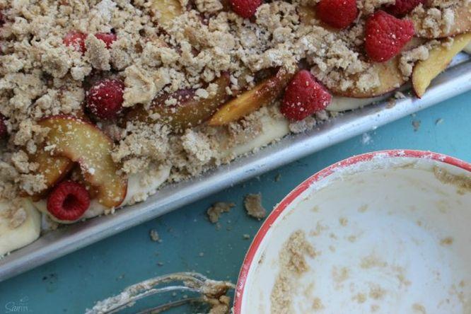 Easy Raspberry & Peach Danish crumb topping