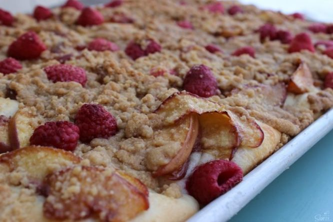 Easy Raspberry & Peach Danish in baking tray