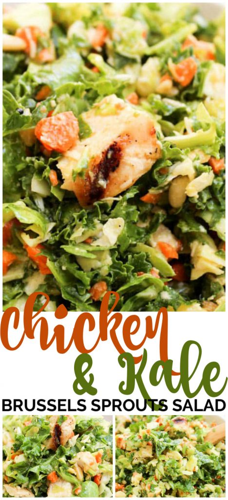 Chicken & Kale Brussels Sprouts Salad pinterest image