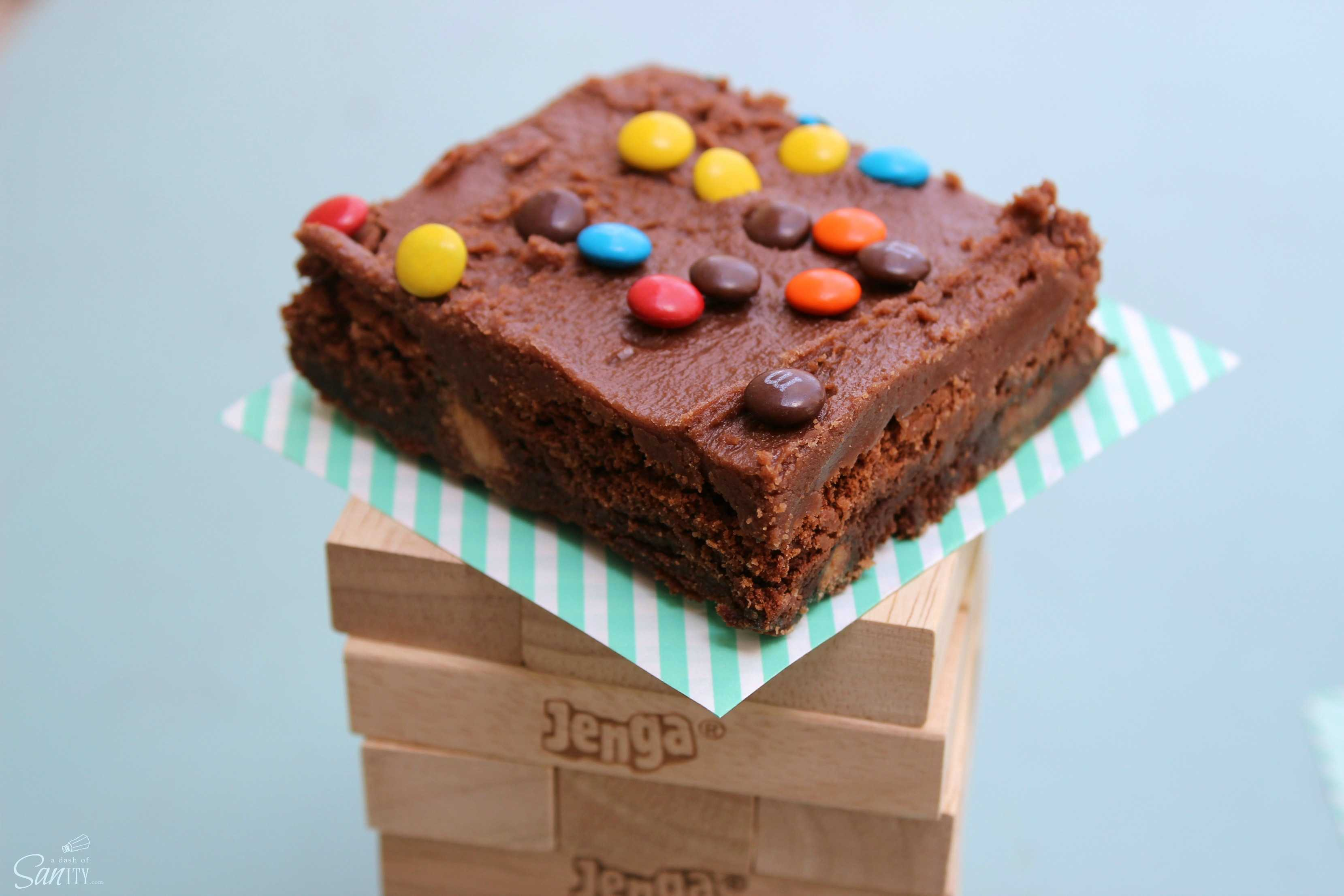 Millionaire Brownies are a double-chocolate brownie loaded with creamy peanut butter and pretzel M&M's®. You get all of your favorite snack treats in one.