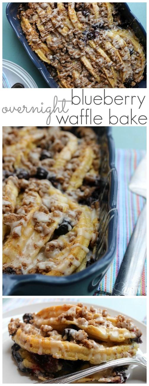 Overnight Blueberry Waffle Bake