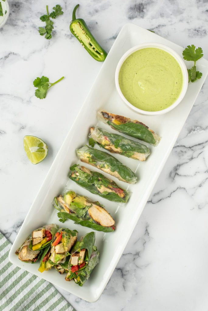 overhead photo of mexican spring rolls on a plate with sauce