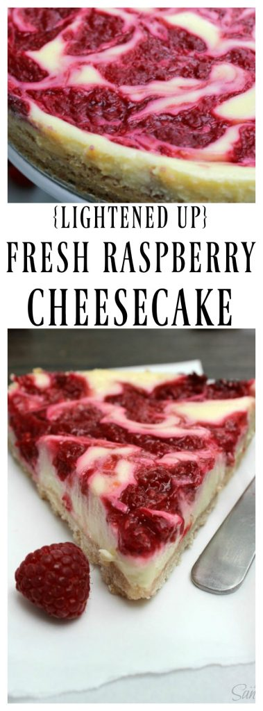 Lightened up Fresh Raspberry Cheesecake is an easy yet delicious recipe, made with low-fat cream cheese, yogurt, and fresh raspberries.