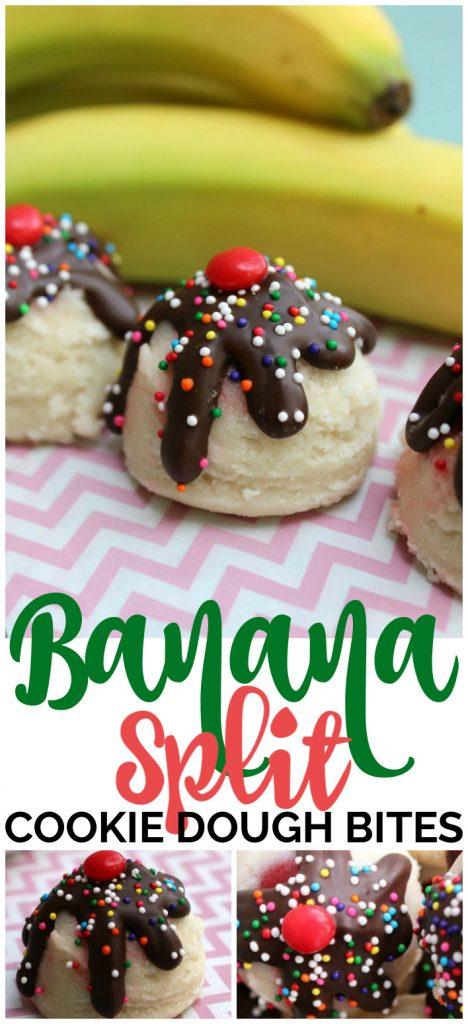 Banana Split Cookie Dough Bites pinterest image