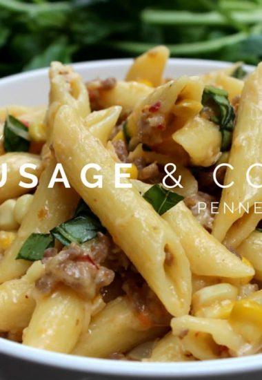 Creamy Sausage Pasta with Corn and Basil